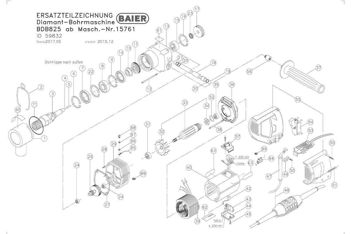 Взрыв-схема электродвигателя Baier BDB 825